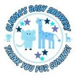 Personalised Blue Baby Animals Baby Shower Party Stickers